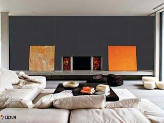 Slabs of architectural concrete - anthracite Modern living room by Luxum Modern