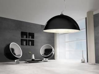 Płyty z ciemnego betonu architektonicznego - antracyt Nowoczesny salon od Luxum Nowoczesny
