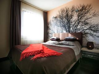 Aranżacja wnętrz sypialni, z kompleksowym wyposażeniem Nowoczesna sypialnia od Anna Buczny PROJEKTOWANIE WNĘTRZ Nowoczesny