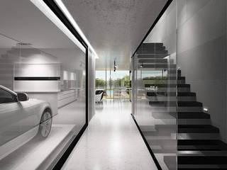 Moradia em C.Ourique. C.Ourique 221 Corredores, halls e escadas minimalistas por HRA-Lisboa Minimalista
