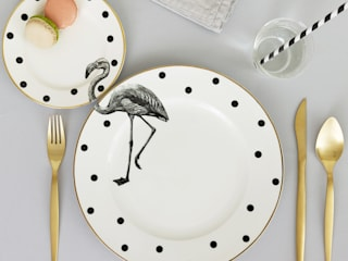 Fancy Flamingo Plate Set:   by Yvonne Ellen