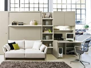 Cama abatible con sofá incorporado : Salones de estilo minimalista de Mobiliario Xikara