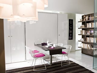 Cama abatible con mesa de comedor incorporada: Salones de estilo minimalista de Mobiliario Xikara