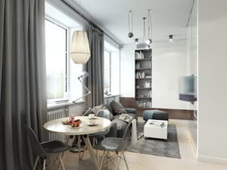 apartment of 32sq.m. Entalcev Konstantin Industrial style living room