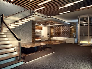 Modern Corridor, Hallway and Staircase by DenisBu Modern