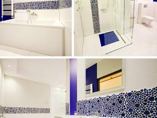 Łazienki i salony kąpielowe – Biel i atrament: styl , w kategorii Łazienka zaprojektowany przez Twindesign  - Kompleksowe Usługi Budowlane