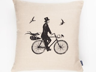 A Gentleman Rides-  45cm hand screen printed cushion:   by Chase and Wonder