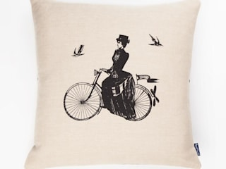 A Lady RIdes - 45cm hand screen printed cushion:   by Chase and Wonder