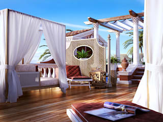 Private Terrace 3D Render&Beyond Classic style balcony, veranda & terrace