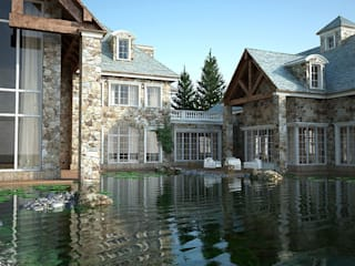 Exteriors Stone house Rustic style house by 3D Render&Beyond Rustic