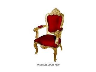 fauteuil baroque modèle Carved bois doré et velours rouge:  de style  par deco Privé by 126 Events