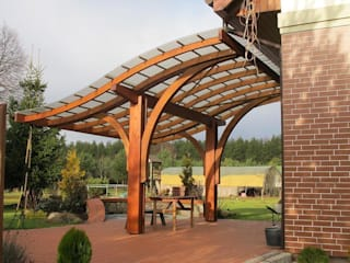 Pergola adosada Balcones y terrazas modernos de JAGRAM-PRO Moderno