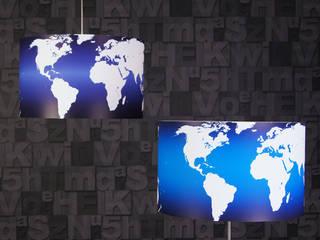 Lampenschirme Welt hellblau und dunkelblau:   von Leuchtenambiente