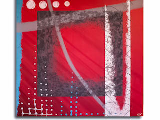 Tableau contemporain rouge Clonik Art N°57:  de style  par Clonik Art