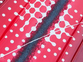 """Tableau contemporain rouge et """"Pixel"""" -Projet N°107 par Clonik Art Moderne"""
