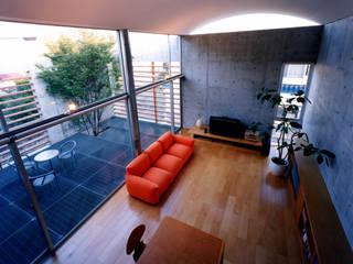 コートハウス ミニマルデザインの リビング の 土居建築工房 ミニマル