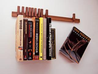 Book rack in Walnut agustav Living roomShelves