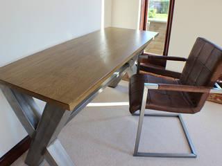 Industrial X Frame Office Desk: industrial  by Russell Oak and Steel Ltd, Industrial