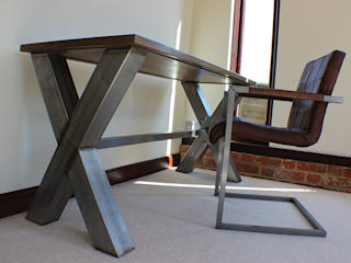 Industrial X Frame Office Desk:   by Russell Oak and Steel Ltd