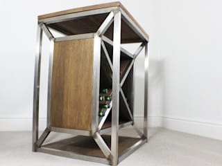 Dulla Industrial Oak and Steel Wine Rack:   by Russell Oak and Steel Ltd