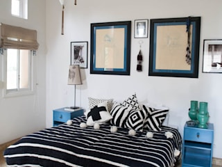 Moroccan Striped Black & White Pom Pom Blanket M.Montague Souk Camera da lettoAccessori & Decorazioni