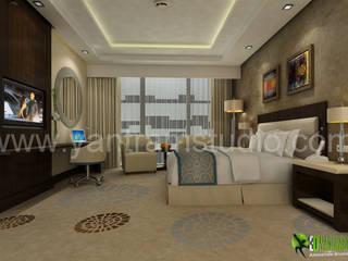 3D Classic 3d interior modeling for Hotel Bedroom: modern  by Yantram Architectural Design Studio, Modern