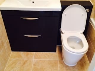 Bathroom with black at Royal Victoria Docks London E16 de Design Inspired Ltd