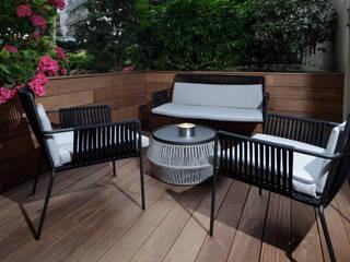 PARIS 17 70m² blackStones Balcon, Veranda & Terrasse modernes