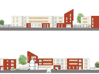 Elévations - façades avant et arrière des nouveaux logements:  de style  par Atelier d'architecture La Licorne
