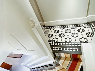 Stripes and borders in London town house Modern corridor, hallway & stairs by Warp & Weft (uk) Ltd Modern
