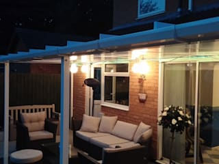 Patio Canopy at night:  Terrace by Living Space