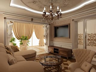 Salas de estilo moderno de Студия дизайна интерьера Руслана и Марии Грин Moderno