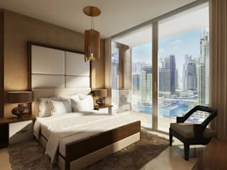 Aedas designs iconic residences at Dubai Marina Modern style bedroom by Architecture by Aedas Modern