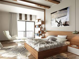 ROAS ARCHITECTURE 3D DESIGN – The Bedroom View1:  tarz Yatak Odası