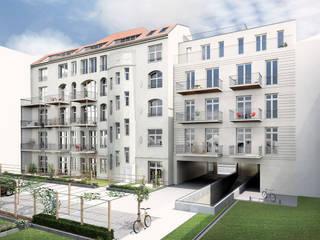Detailgetreu und realistisch – die sanierte Fassade der Hofseite.:   von mh-visualisierung