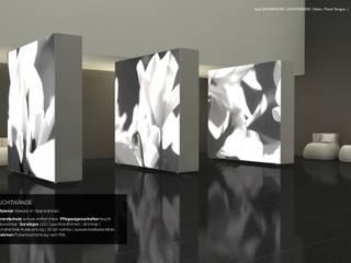 grossflächige mobile Leuchtkästen als Trennwand beidseitig:  Hotels von tela-design