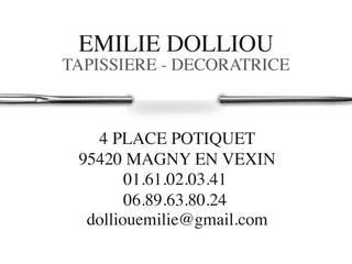 Carte de Visite par Emilie Dolliou, Tapissière-Décoratrice Éclectique