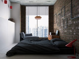 Lenz Architects Industrial style bedroom
