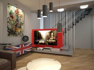 Коттедж в подмосковье Гостиная в стиле лофт от Burkov Studio Лофт