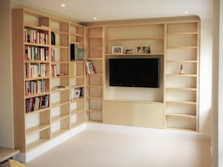 Contemporary ash Bookcases with media center:   by Built in Solutions