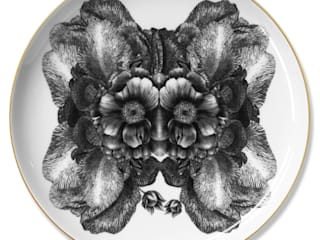 'Mask' collection, fine bone china plates: modern  by Sasha Tugolukova Ltd, Modern