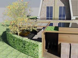 Kleine tuin bij hoekwoning, in moderne cottage stijl Rustieke tuinen van Bladgoud-tuinen Rustiek & Brocante