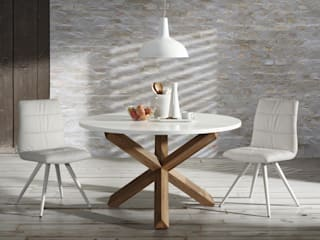 Jadalnia w bieli i drewnie od Le Pukka Concept Store Skandynawski