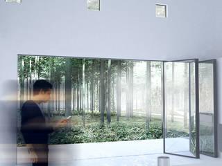 Maison T: Salon de style  par Thibaudeau - Architecte