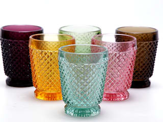 Handmade Portuguese Diamond Pattern Water Glasses: mediterranean  by J & M Collections Ltd, Mediterranean