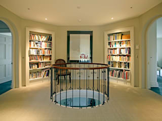 Landing bookcases Classic style corridor, hallway and stairs by Giles Jollands Architect Classic