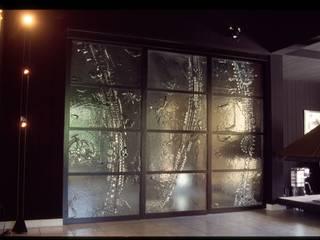 Cloison coulissante en verre par vitrail architecture Minimaliste