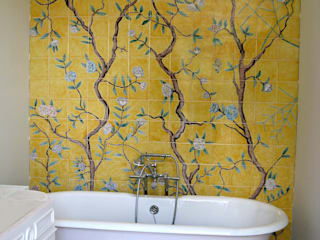 Chinoiserie Asian style bathroom by Reptile tiles & ceramics Asian