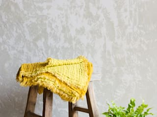 Waffled Linen Throw - Mustard:   by Oggetto
