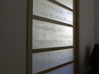 Claustra coulissant perle et nacre Salon minimaliste par vitrail architecture Minimaliste